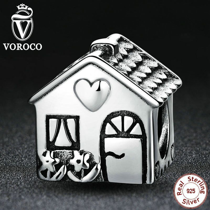 Authentic 925 Sterling Silver Love Heart House Charms fit Pandora Women Bracelets Families Fashion Jewelry PS341