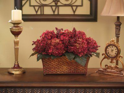 Burgundy hydrangea silk floral arrangement a bountiful array of burgundy hydrangea silk floral arrangement a bountiful array of clustered burgundy hydrangeas and foliage set in an antique gold and bronze brushed metal mightylinksfo