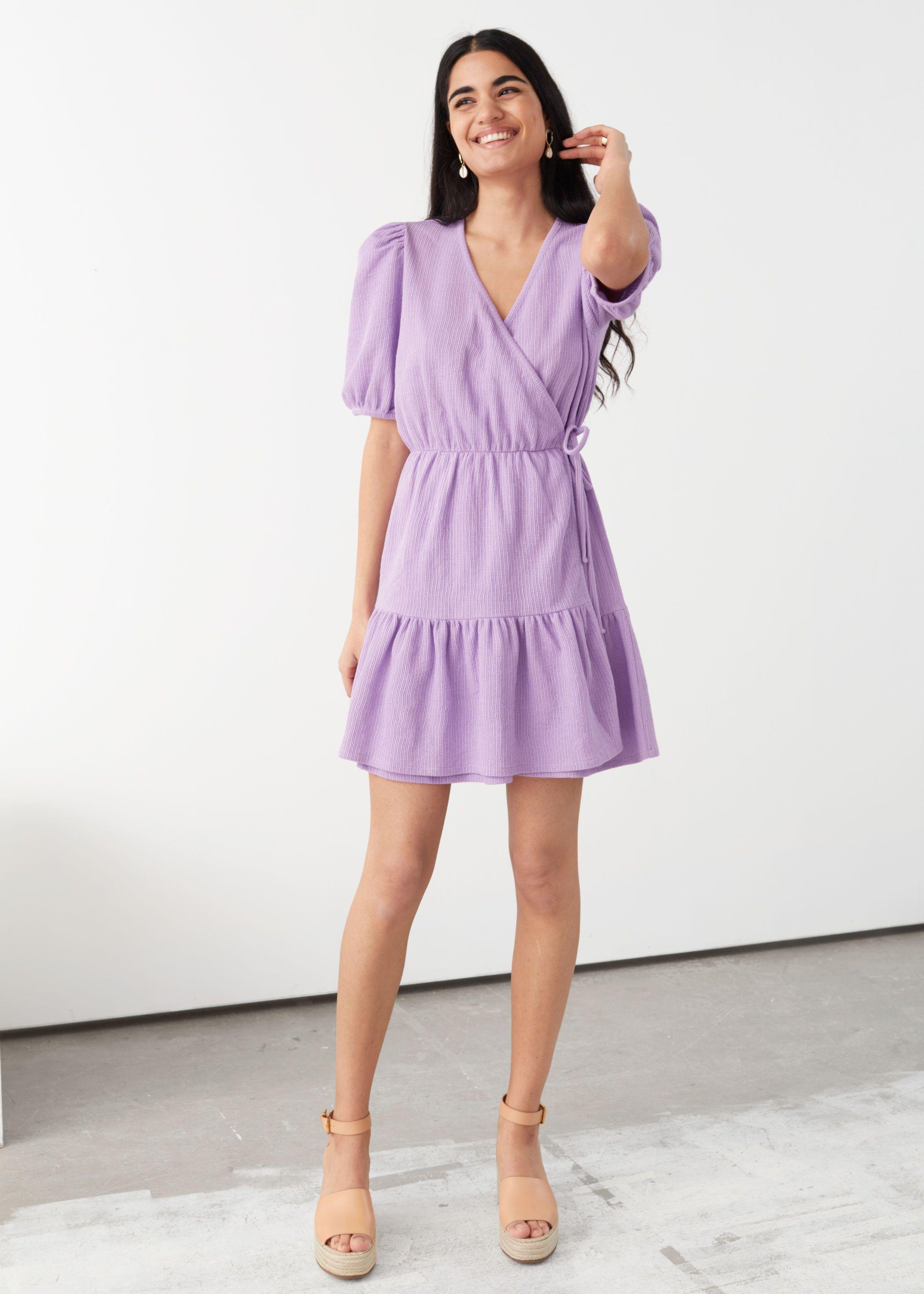 Puff Sleeve Mini Wrap Dress Mini Dress Mini Wrap Dress Dresses [ 2940 x 2100 Pixel ]