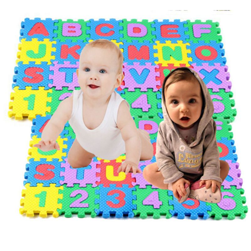 36Pcs Foam For Baby Kids Alphanumeric Educational Puzzle Mats Small Size