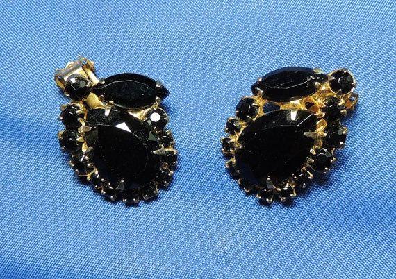 Vintage Juliana Earrings Stunning Black Juliana by OodlesofBling, $22.00