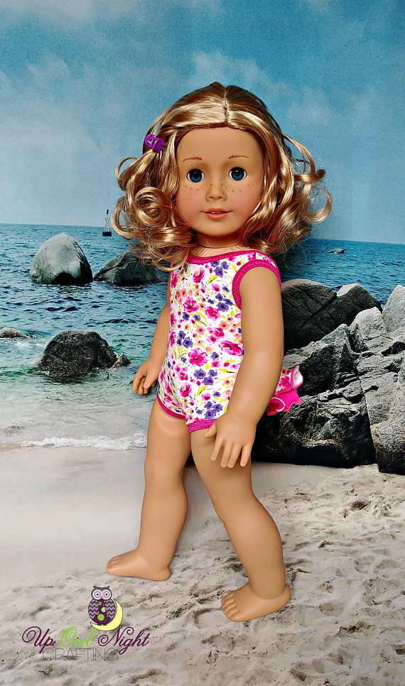 81e5d5c85 Doll Bathing Suit with Butt Ruffle fits American Girl. Handmade with Lee &  Pearl pattern.
