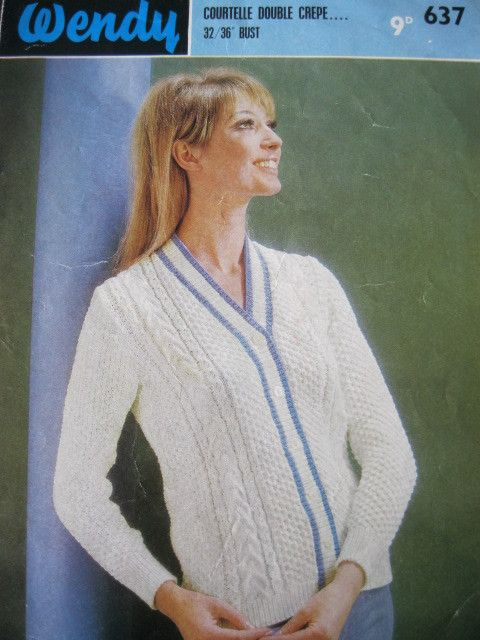 Vintage Wendy Knitting Pattern 637 Ladies Cardigan 32 36