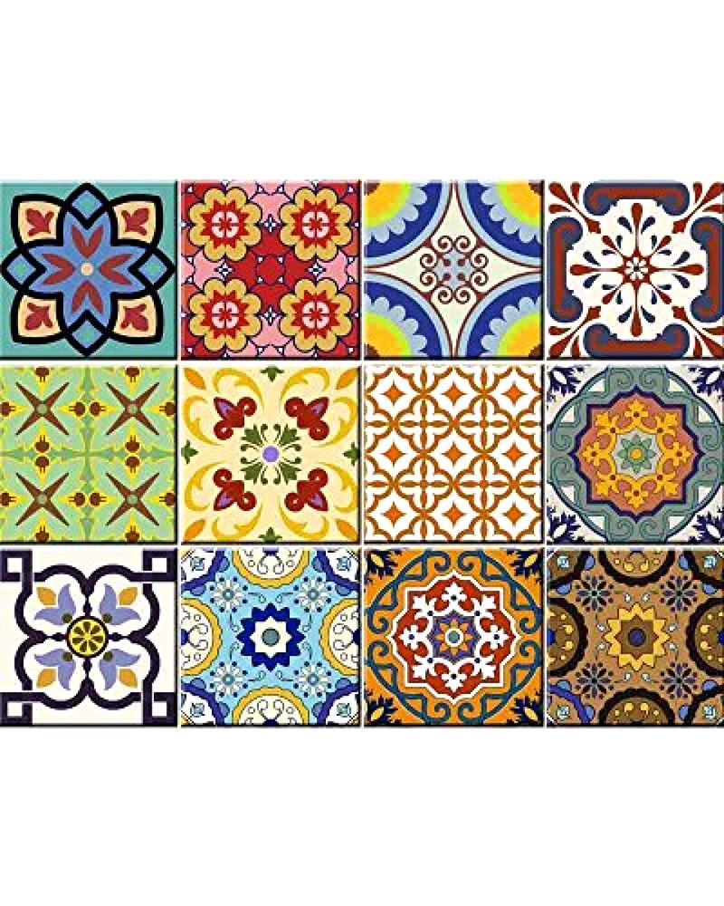 Tile Stickers 24 Pc Set Traditional Talavera Tiles Stickers Bathroom Kitchen Almaart Tile Decals Stair Decals Retro Tiles