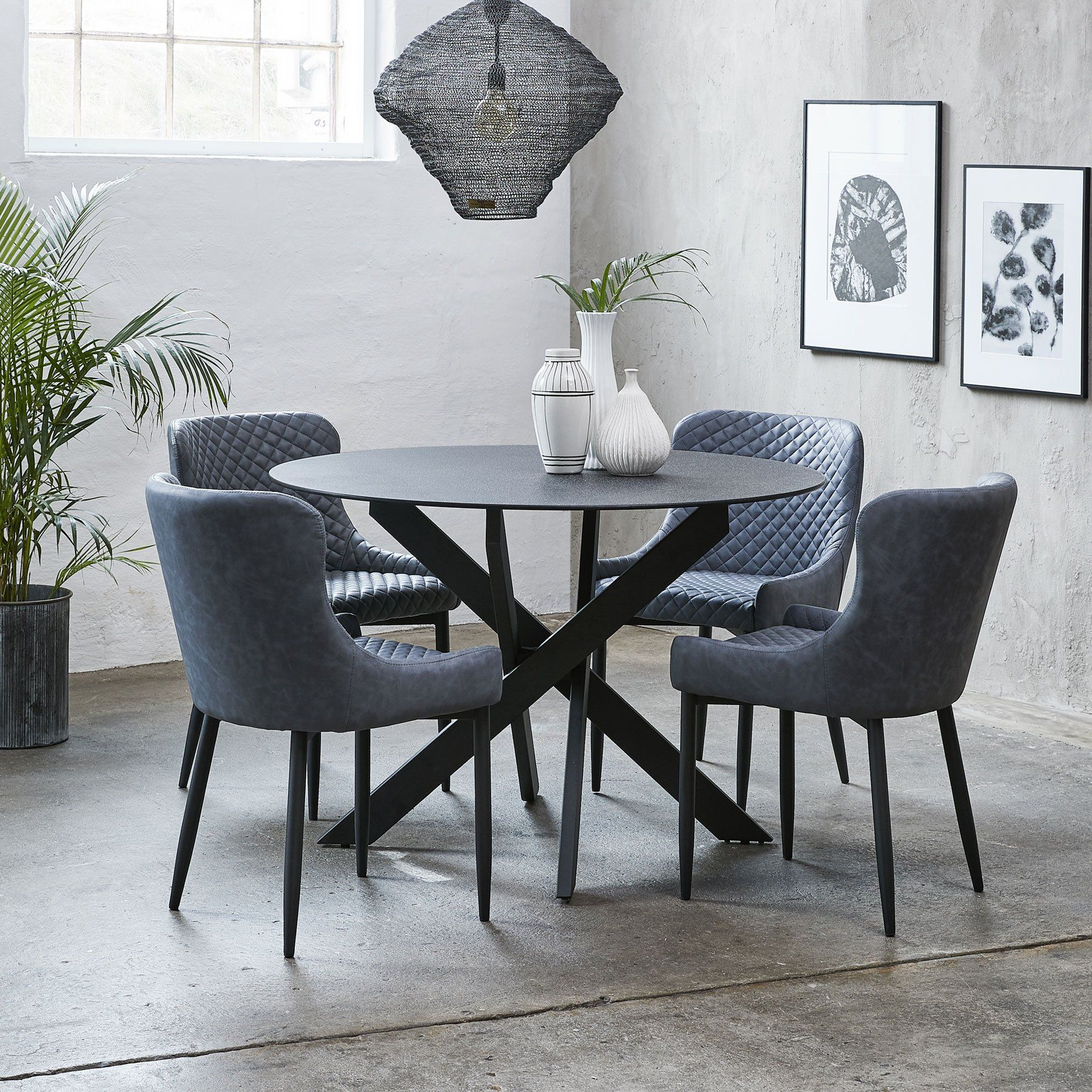 Remi 120cm Round Dining Table 4 Dark Grey Toby Chairs Round Dining Room Table Round Dining Room Grey Dining Room Chairs