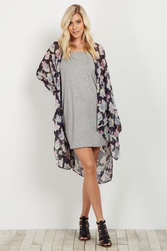 550baef1d Navy Floral Chiffon Kimono | { Fashion & Style } | Chiffon kimono ...