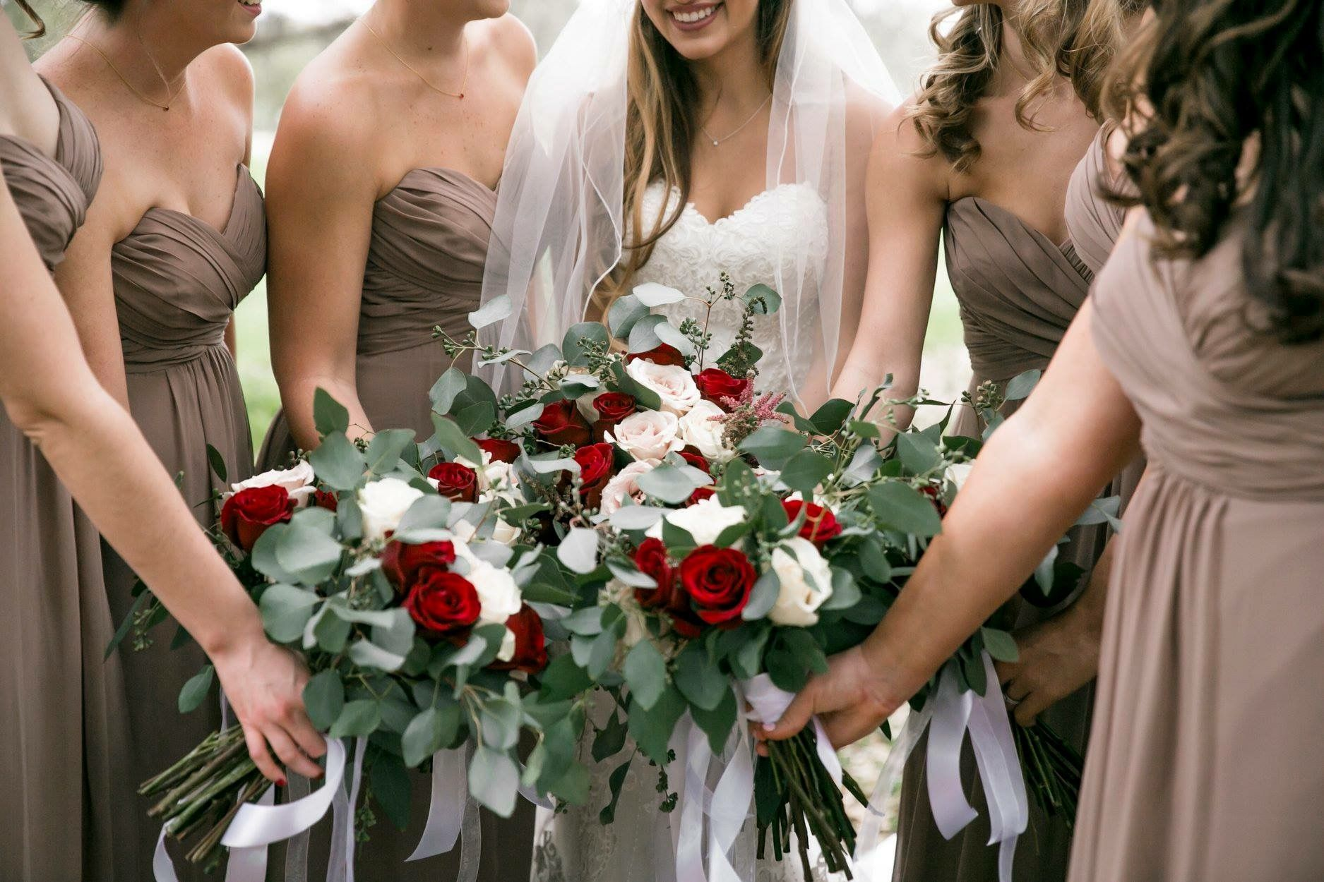 Taupe Bridesmaid Dress And Burgundy Greenery Bouquet Taupe