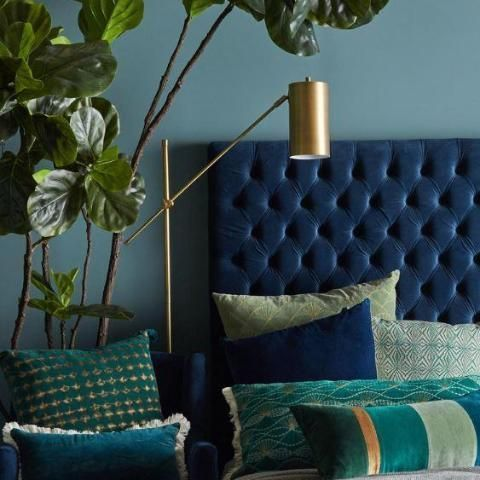 A velvet bedhead add a touch of luxury to any bedroom