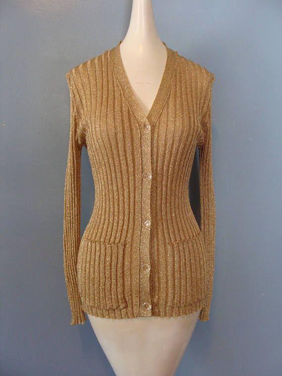 3b25388a354bc3 Vintage Metallic Sweater 70 s Cardigan Disco Glam Gold