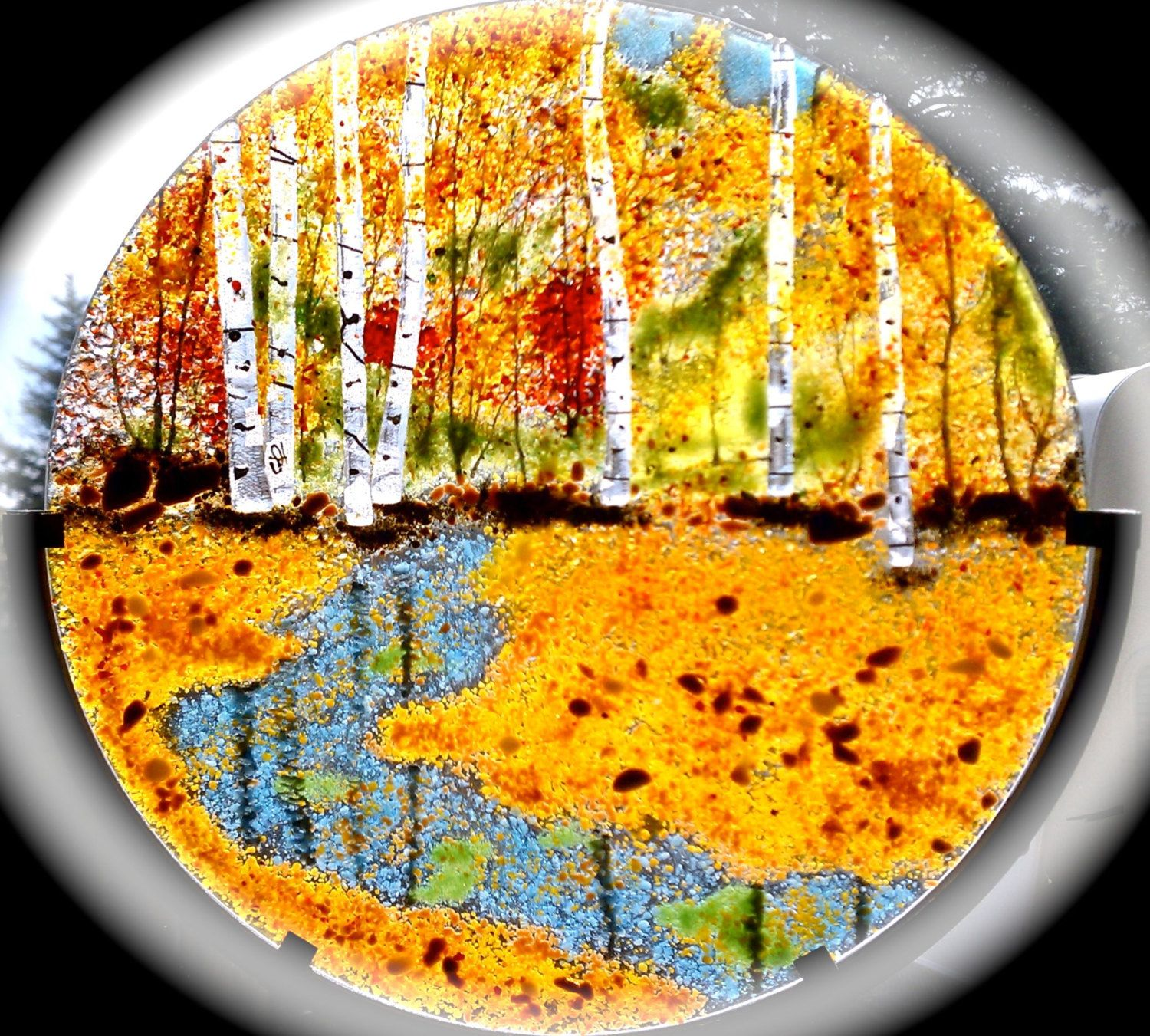 Fused Glass Aspen Maple Tree Oak Forest Autumn or Summer Panel Home ...