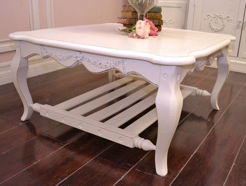 Shabby Cottage Chic Square Coffee Table White French Vintage Style
