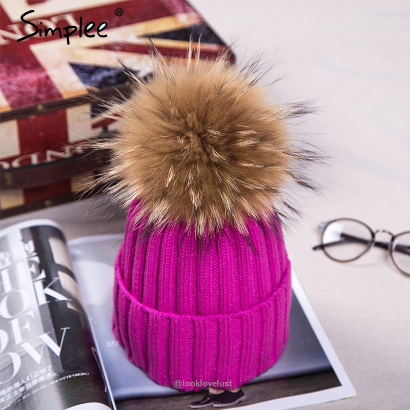 032a5869c4023 Simplee Fur Pom Pom Bobble Hats - Rose Red - Hats