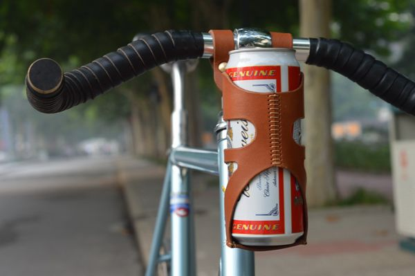 High Quality Bike Bicycle Cow Leather Water Bottle Holder Track