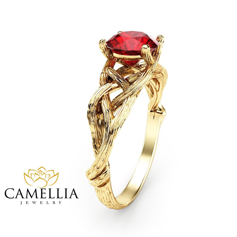 K yellow gold ruby engagement ring natural ruby ring unique branch