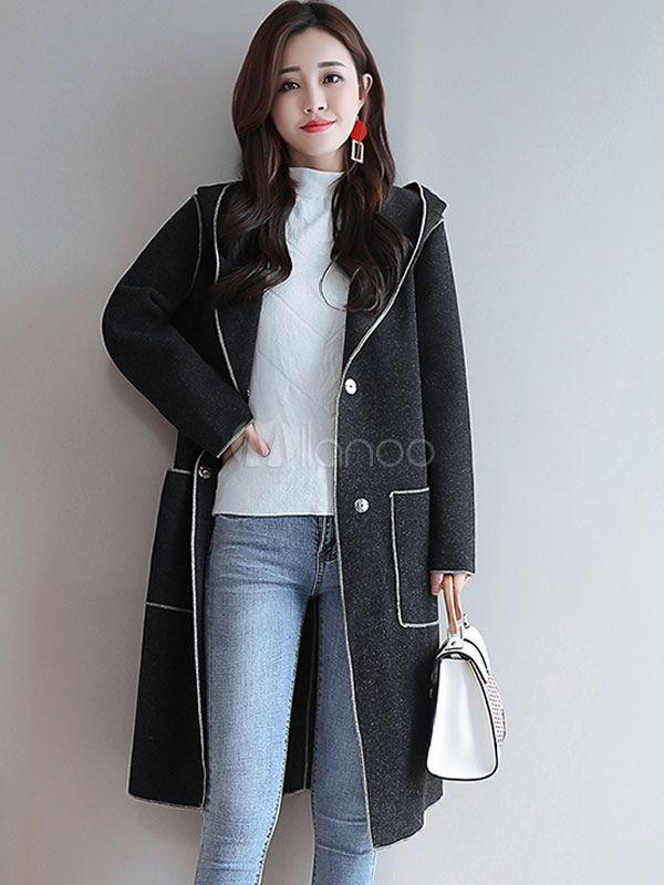 88a263903 Women Woolen Coat Hooded Wrap Coat Piping Buttons Pockets Winter ...