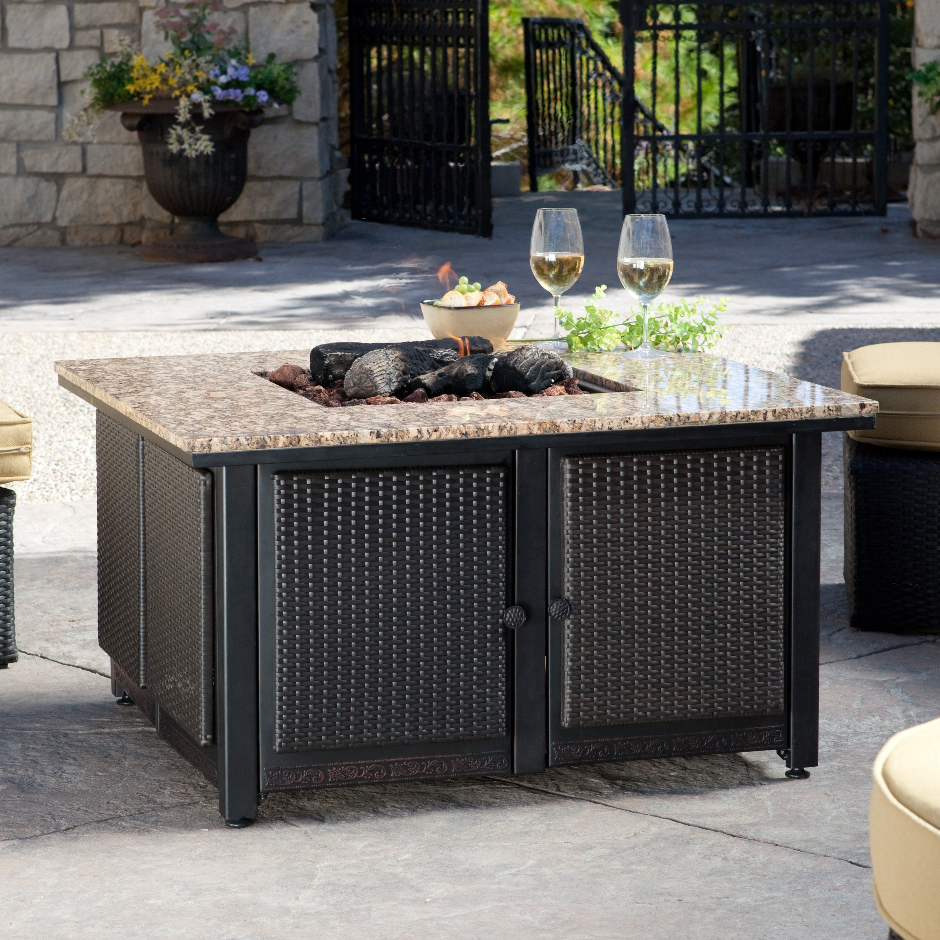 Uniflame Granite Table Propane Fire Pit With Free Cover 849 98