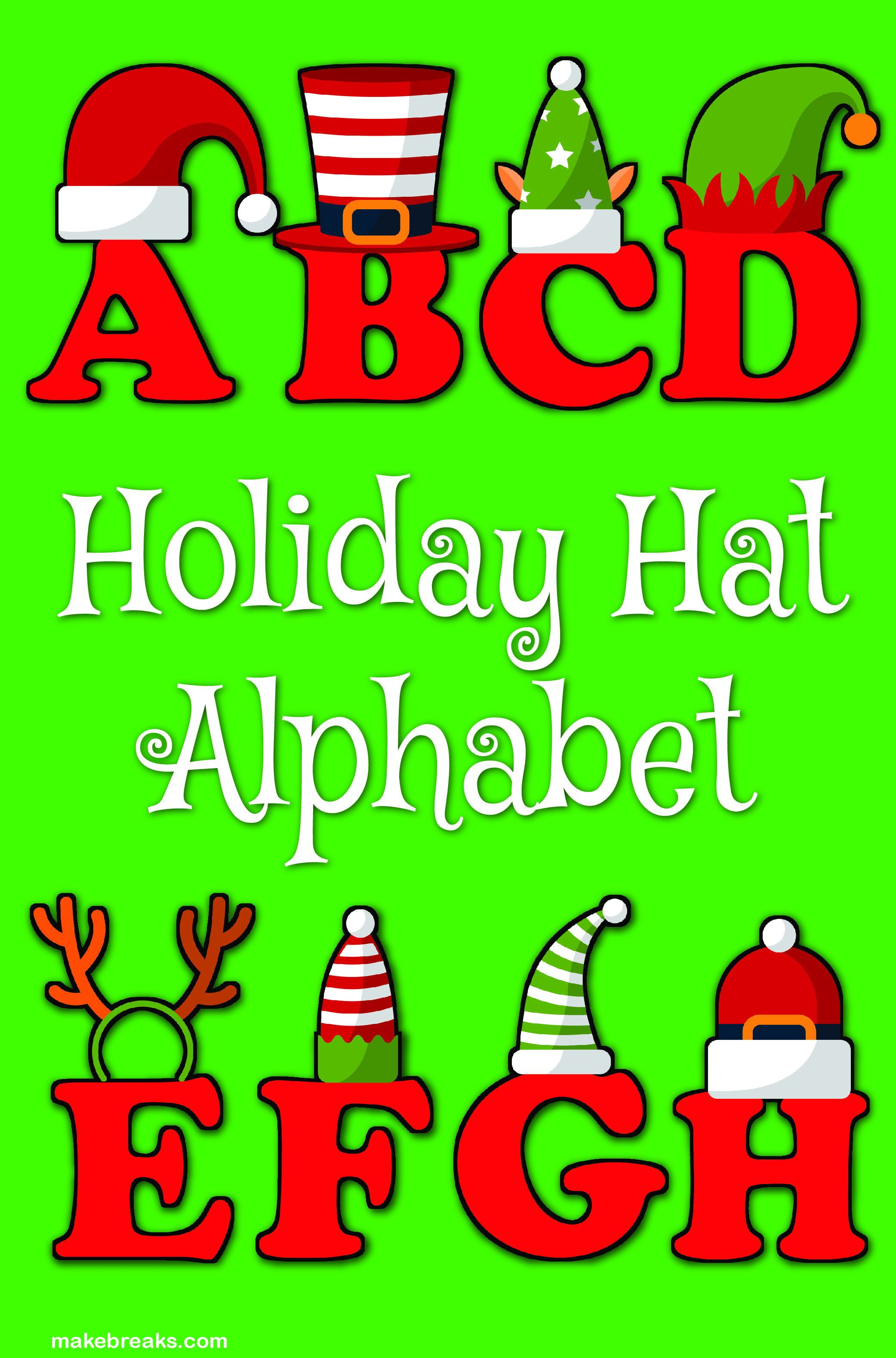 Funny Holiday Hat Christmas Alphabet Letters To Print