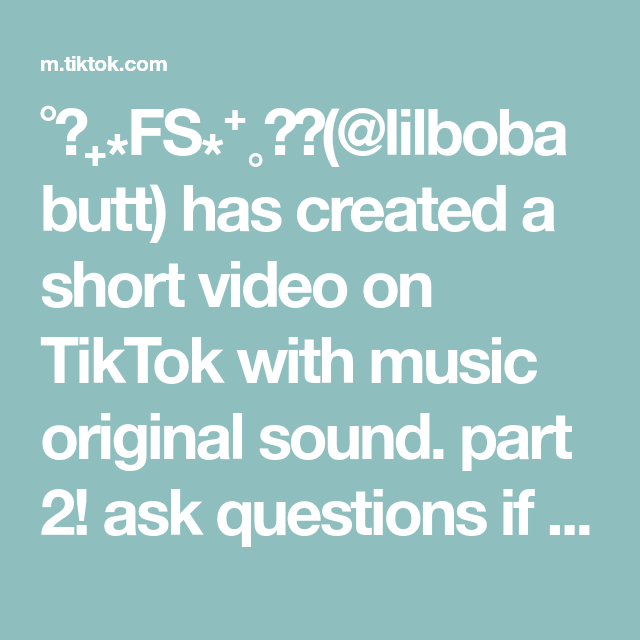 Fs Lilbobabutt Has Created A Short Video On Tiktok With Music Original Sound Part 2 Ask Questions If Yo This Or That Questions The Originals Music