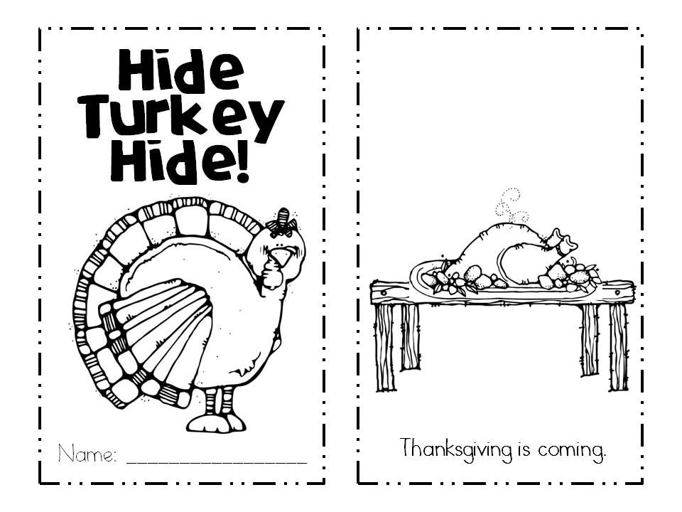 Freebie emergent reader with positional words from Kinder Kapers: Thanksgiving Preview