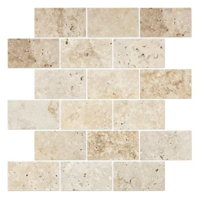 An Amalfi Mosaic Of Neutral Tumbled Travertine Tile Floor Travertine Mosaic Tiles Decorative Wall Tiles