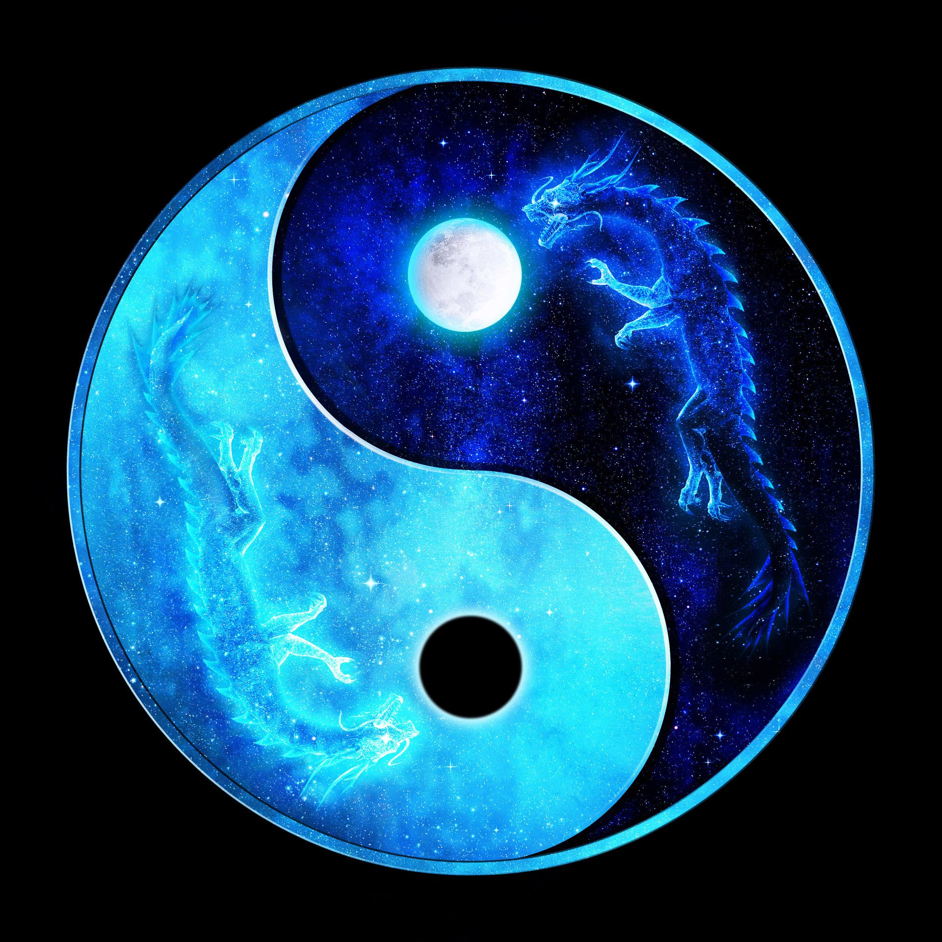 Full And Eclipse Moon Dragon Ying Yang With Images