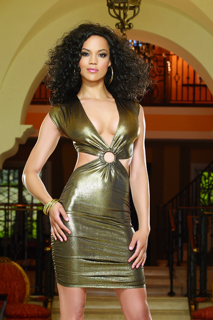 Gold metallic cut out midsection dress budgetfashionstore