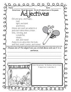 adjectives poem grammar classroom language teaching grammar grammar. Black Bedroom Furniture Sets. Home Design Ideas