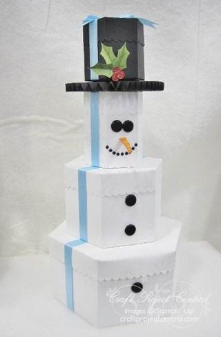 Cpc Snowman Gift Box Tower 3d Ideas Snowman Christmas Present