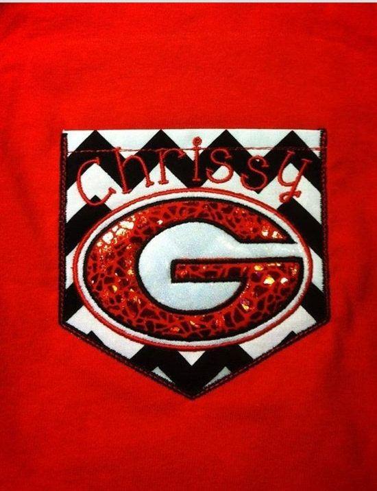 Georgia bulldogs Chevron Pocket tee sparkly Custom shirt UGA Ga Bulldogs  University of Georgia 4e2af14ef