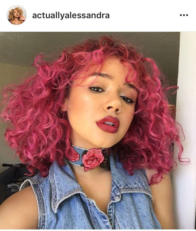 Alessandra Pink Curly Dyed Hair Dyed Natural Hair Dyed Curly Hair Natural Curls Hairstyles