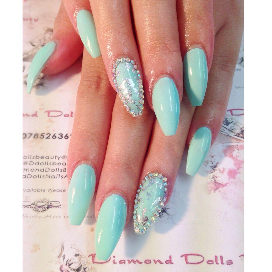 Diamond dolls beauty coffin shape acrylic nails | Coffin Nails ...