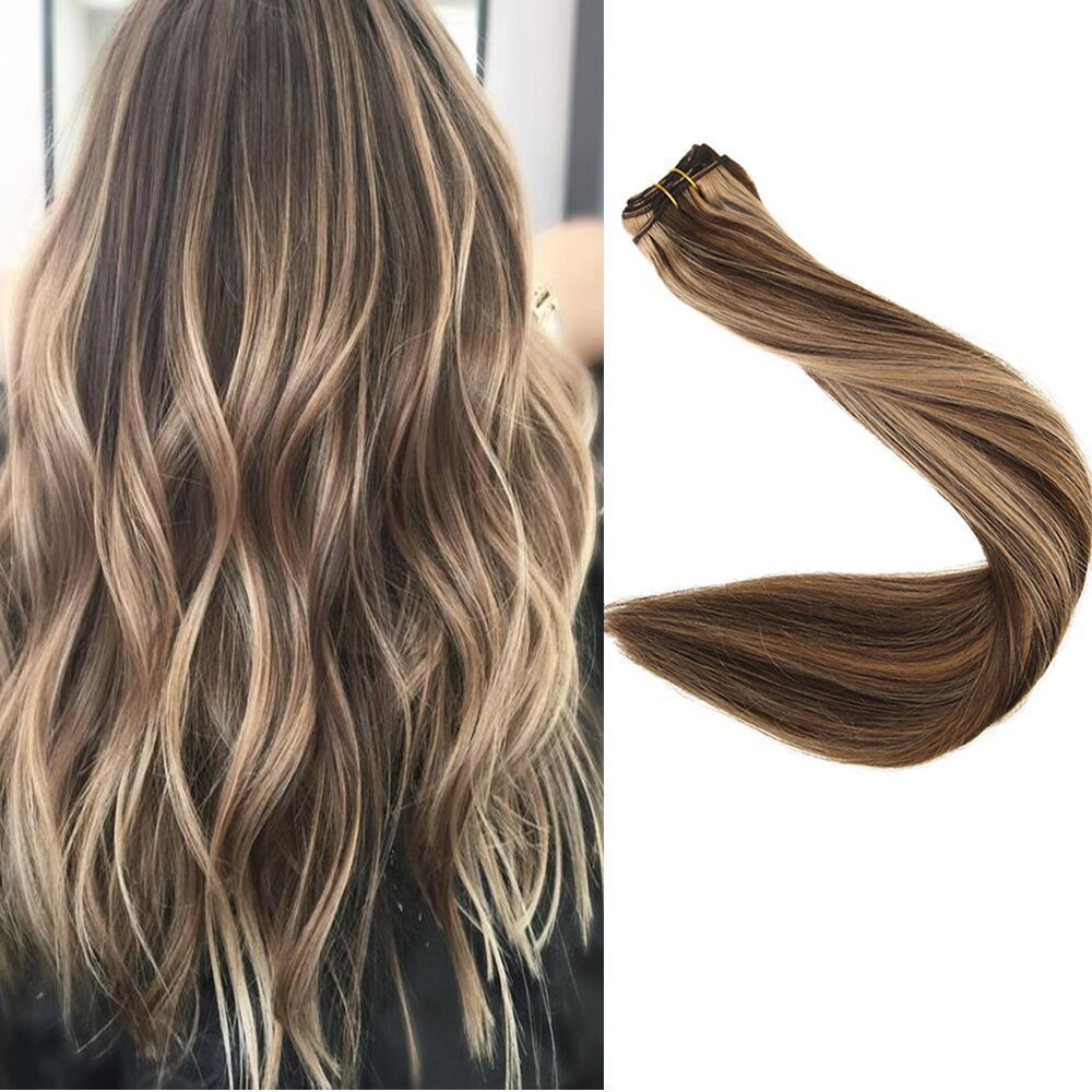 Full Shine Human Hair Extension Straight Color 427 Double Weft Hair