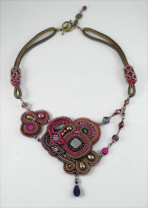 Soutache Collier Soutache Jewelry Handmade from Italy Handmade necklace OOAK Hand Embroidered
