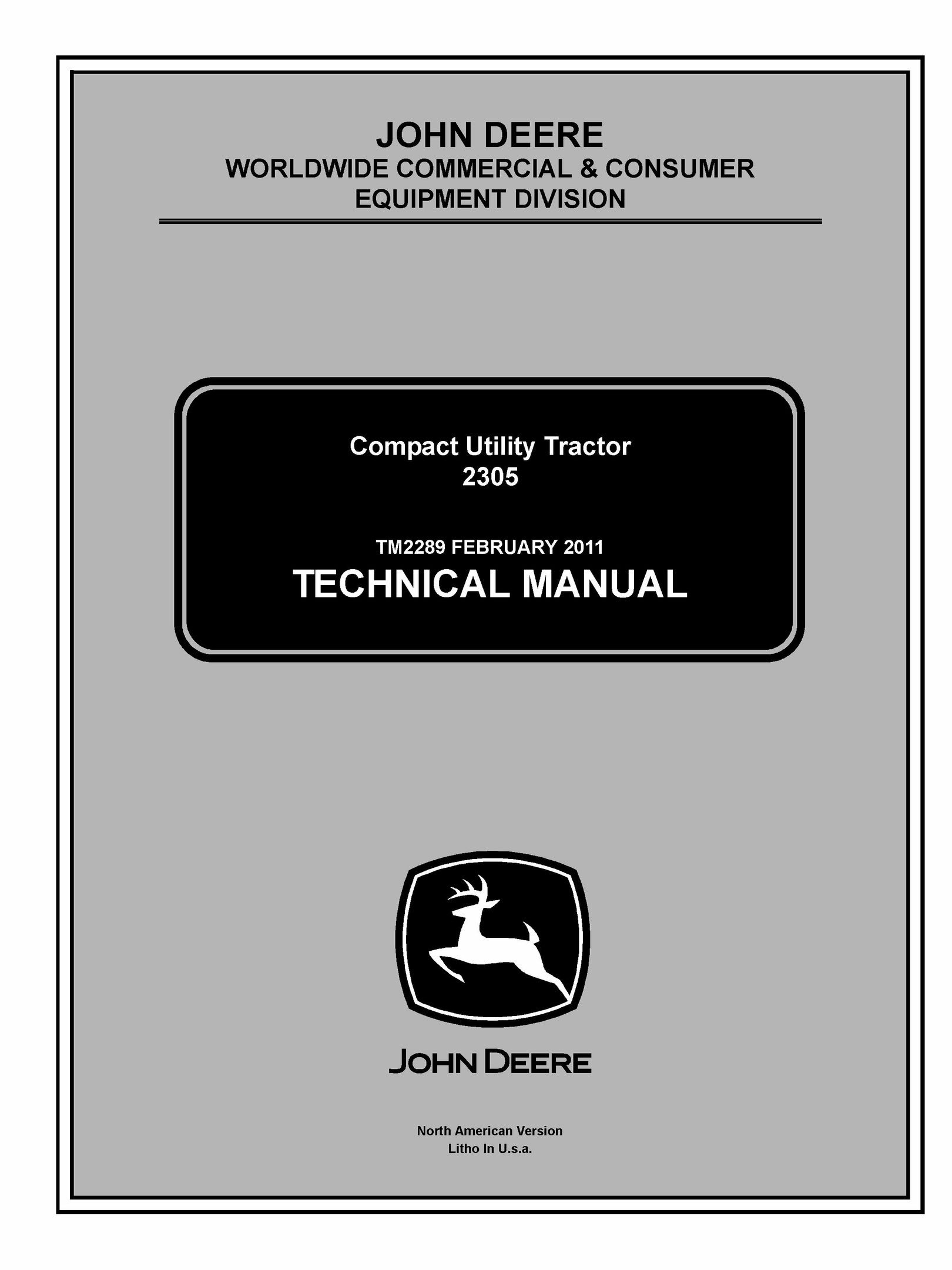 TM2289 John Deere 2305 Compact Utility Tractor Service Repair Technical  Manual PDF