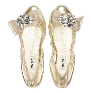 White And Gold Wedding Reception Dancing Shoes Bride Bailarinas Doradas De Miu