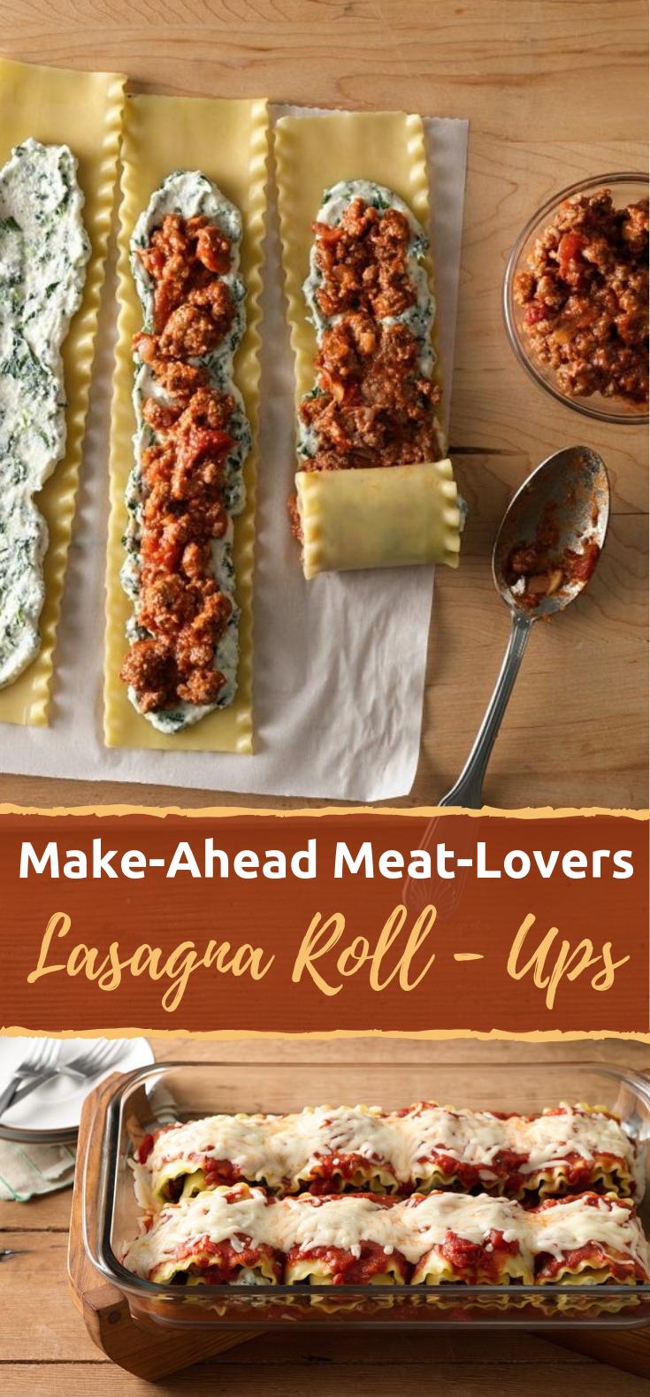 food dinner #food #foods Make-Ahead Meat-Lovers Lasagna Roll-Ups #Dinner #Meals