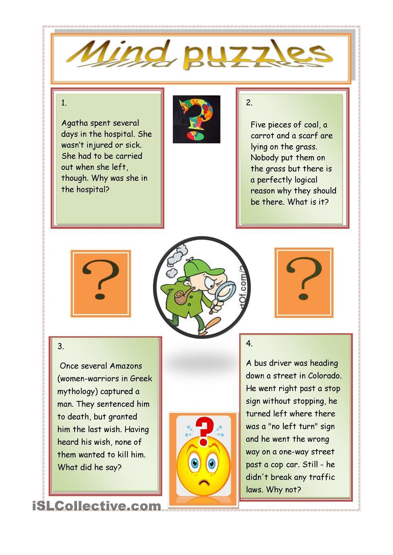 Mind Puzzles Worksheet Free Esl Printable Worksheets Made By Teachers Mind Puzzles First Grade Math Worksheets Kindergarten Subtraction Worksheets [ 1440 x 1018 Pixel ]