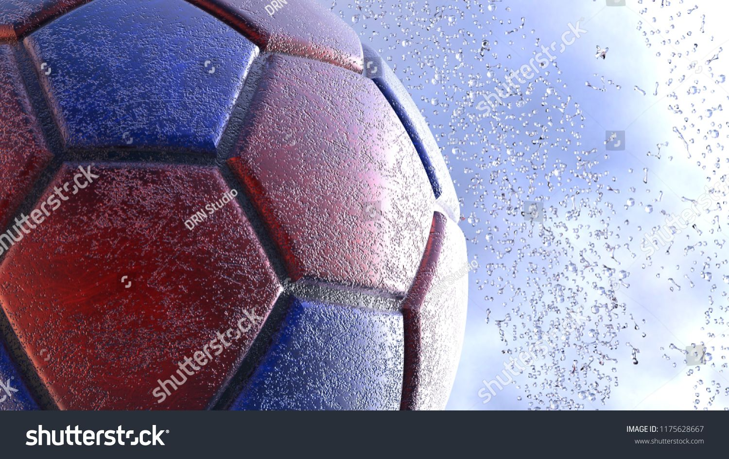 Download Rusty Metallic Blue Red Soccer Ball With Water Splash 3d Illustration 3d High Quality Rendering Ad Sponsored R Metallic Blue Soccer Ball Photo Editing
