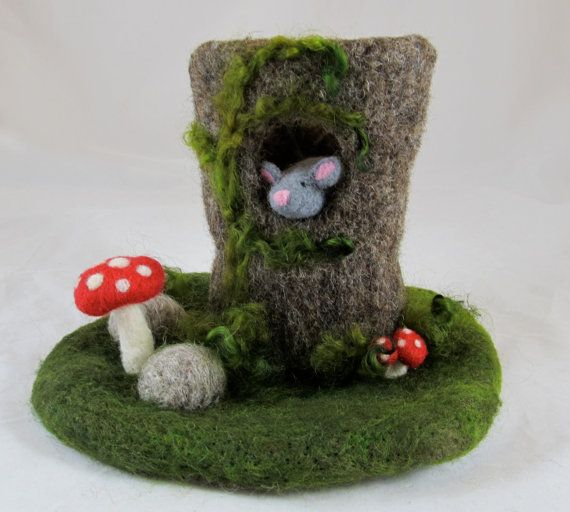 Tree Stump Needle Felted Play Mat and Creatures by chimera on Etsy