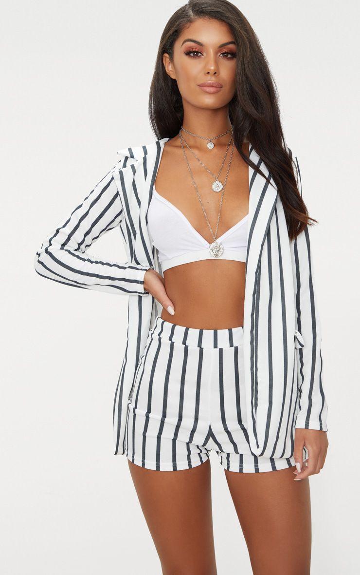 Black Stripe Suit Shorts