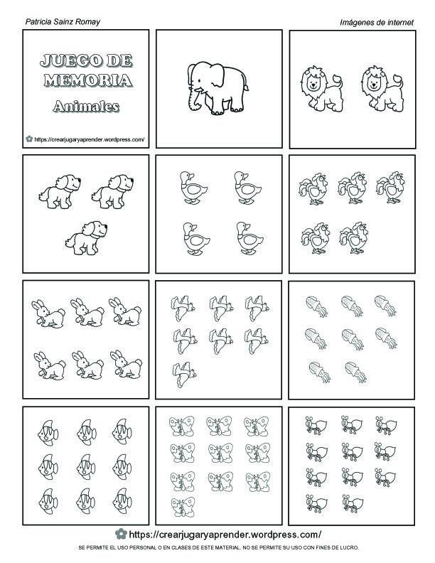 CONTAR ANIMALES PARA JUEGO DE MEMORIA parte 1 de 2