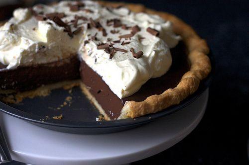 Chocolate pudding pie, under attack!  RECIPE: http://smittenkitchen.com/blog/2009/09/chocolate-pudding-pie/