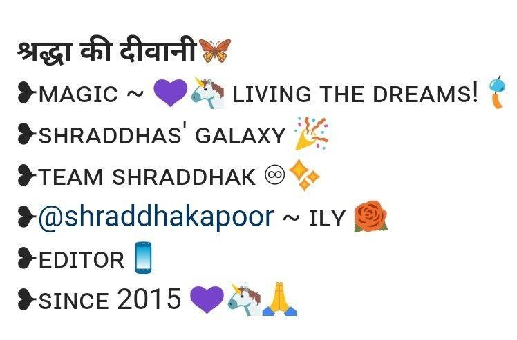 Instagram Bio For Shraddha Kapoor S Fanpage Instagram Bio Insta Bio Bio