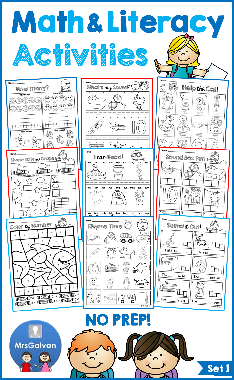 NO PREP Math and Literacy Activities Packet Set 1 Reading Math ...