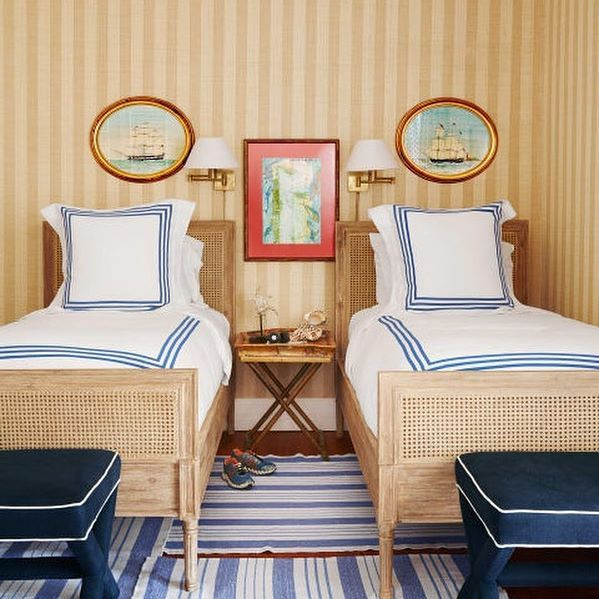We Ll Take Two Love The Symmetry In This Coastal Guest Room From Housebeautiful Home Decor Home Coastal Bedrooms