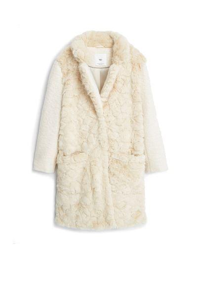 ab4042b7 Mango - Suni kürk aplikeli yün mont | For Her | White faux fur coat ...