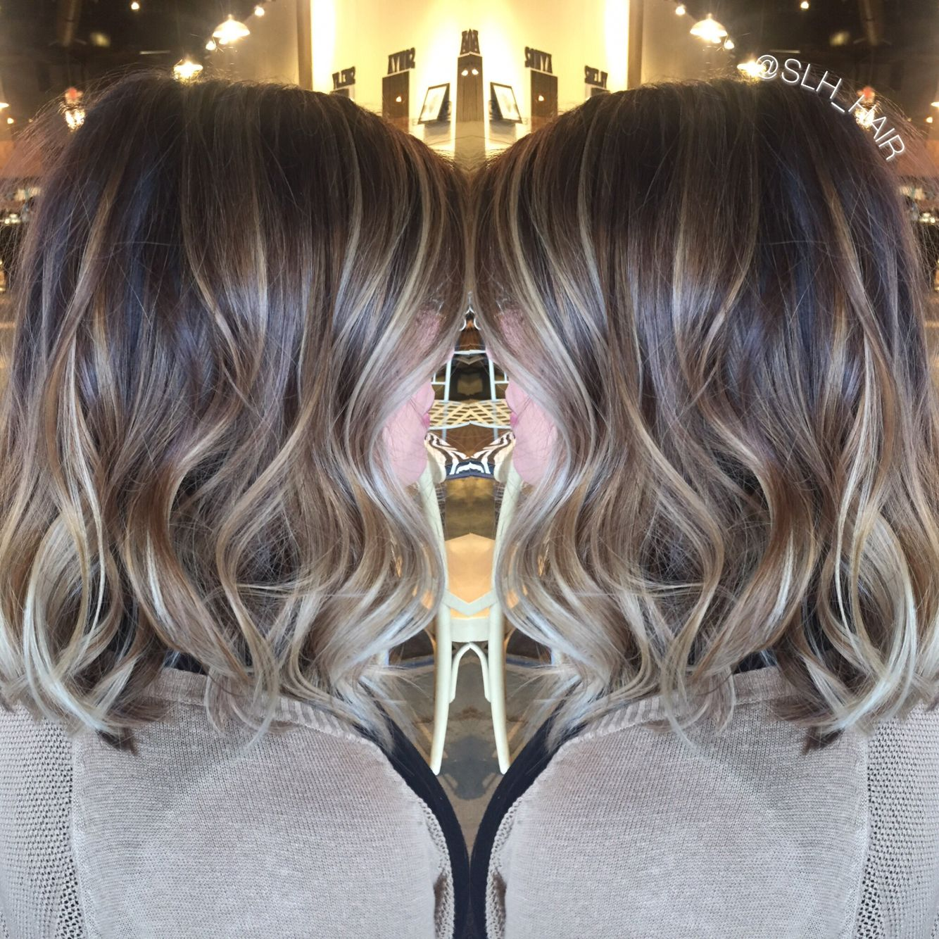 Balayaged Dimensional Blonde Brown Root With Cool Toned