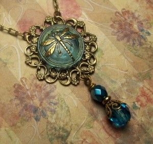 Dragonfly Czech Glass Button Necklace with matching review