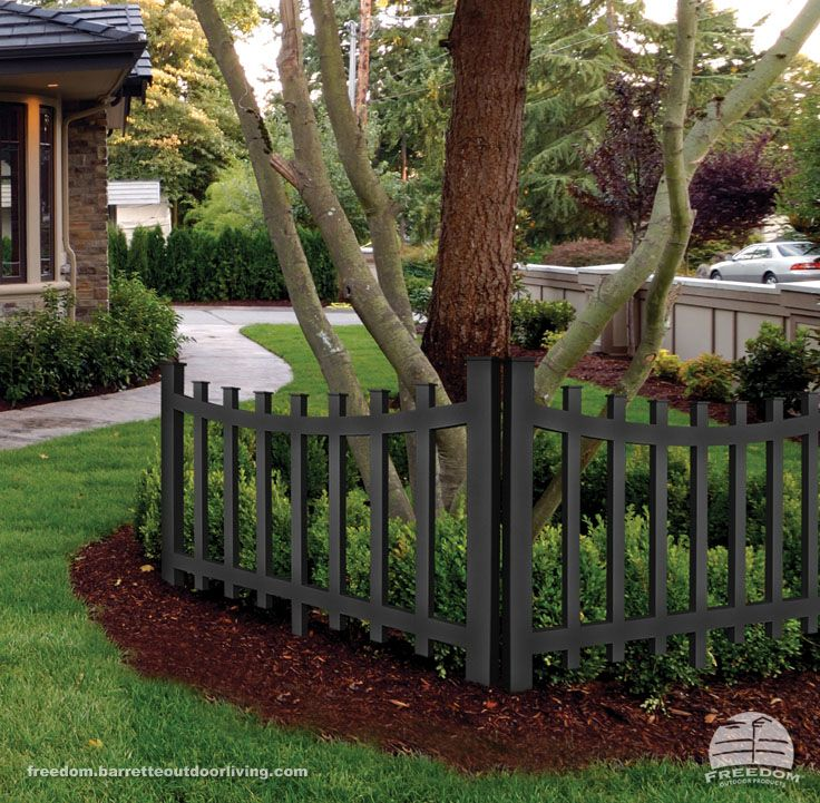 black vinyl picket fence. scalloped picket accent fence adds a touch of drama to front yard shade garden black vinyl