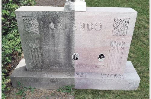 Before And After Of A Cleaned Headstone Masonry Cleaning